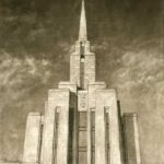 Oquirrh Mountain Temple Utah 18x24 Charcoal
