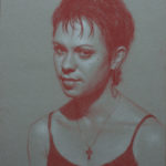 Portrait Study 11x14 Red and White Pastel on Toned Paper