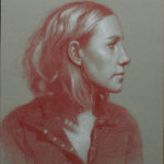 Profile of a Girl Red and White Pastel on Toned Paper